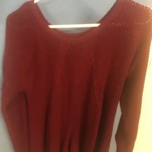 Agnes and Dora Maroon Cable Sweater